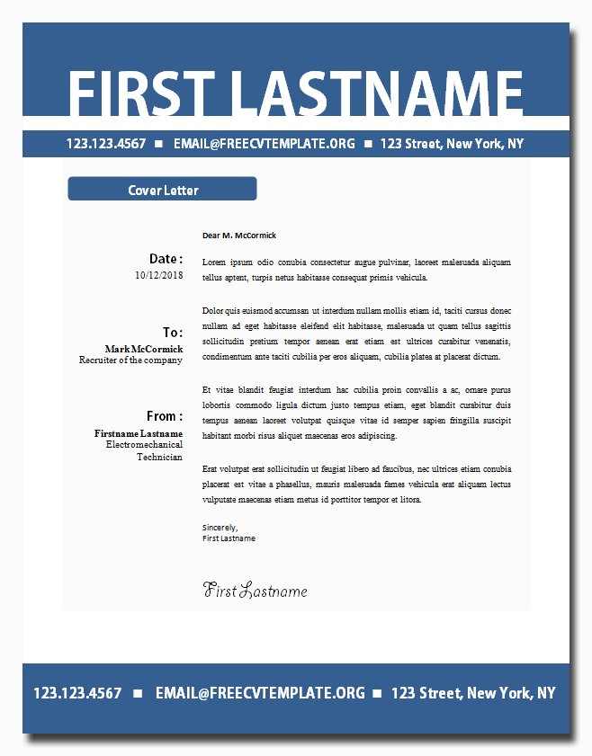 Cover Letter Template #27