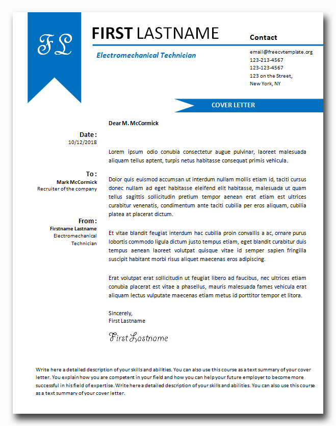Cover Letter Template #30
