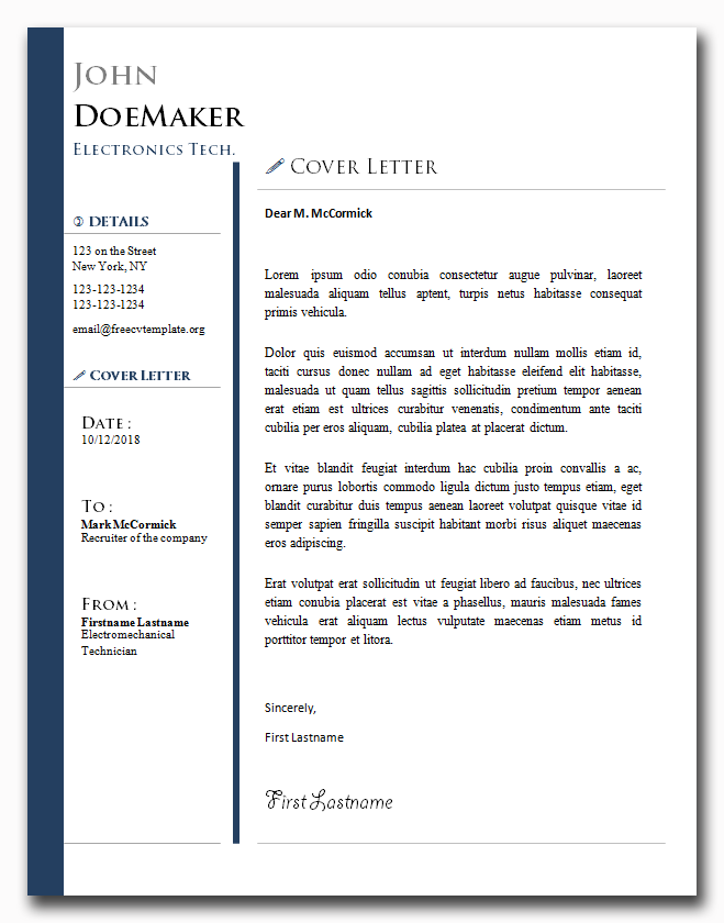 Cover Letter Template #25
