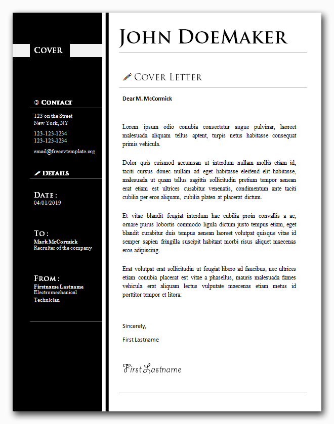Cover Letter Template #26