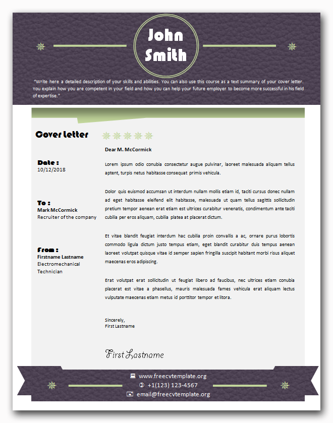 Creative design cover letter