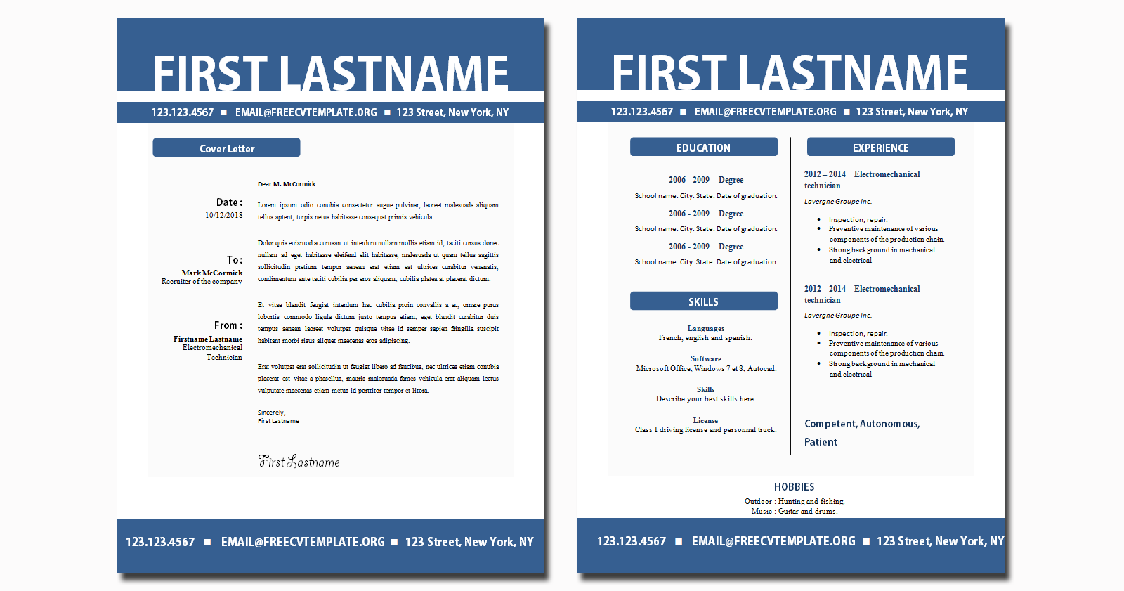 Blank CV and Cover Letter Templates Ocean Blue