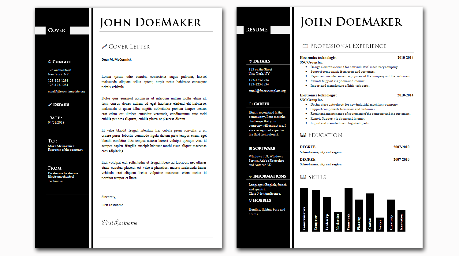 CV and Cover Letter Bundle #26