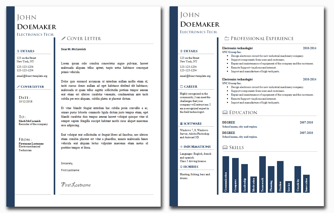 CV and Cover Letter Bundle #25