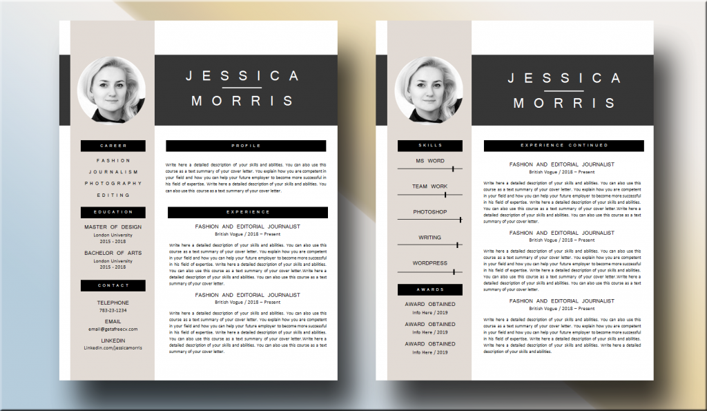 Long experience two pages CV