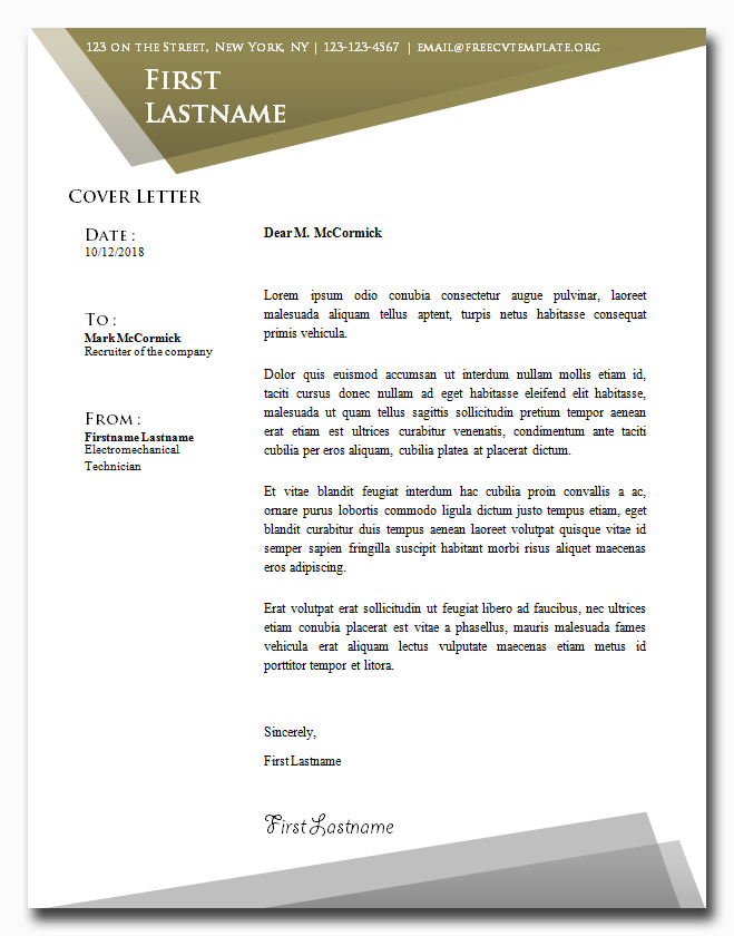 Mastered Cover Letter Template