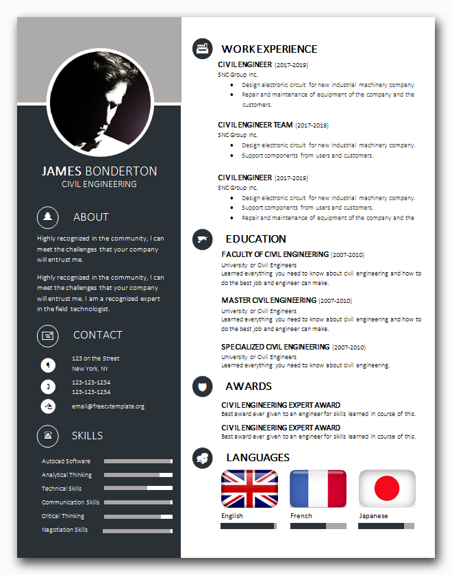 One page version of our Trend CV Template