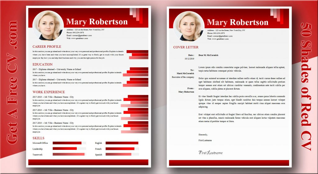 Fifty shades of red CV and matching cover letter