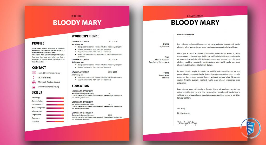 Bloody Mary CV and cover letter bundle