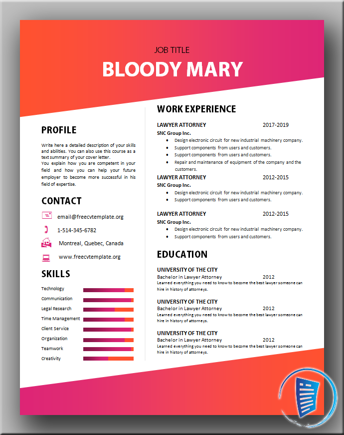 Bloody Mary CV