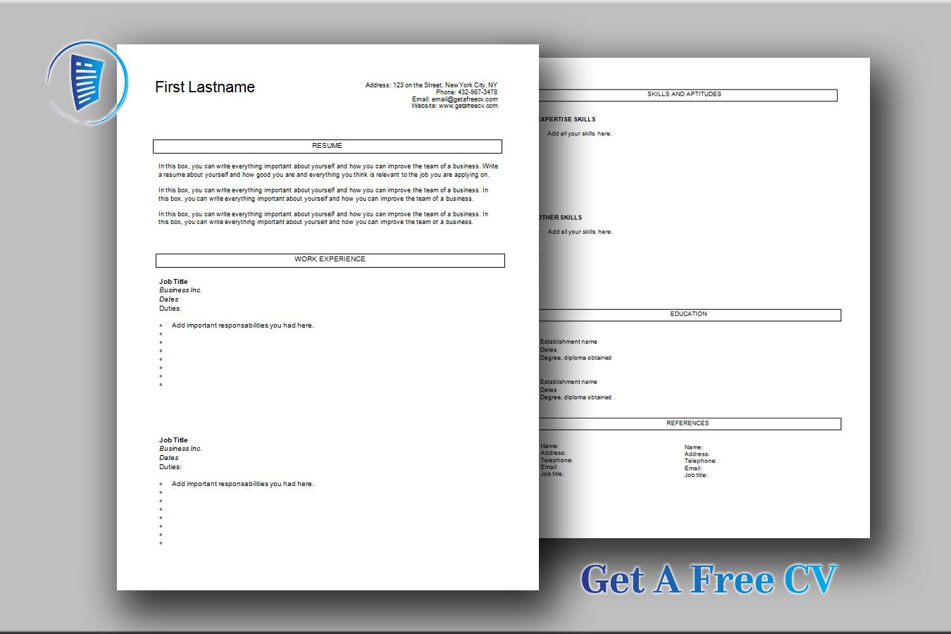 five classic cv templates  u2022 get a free cv