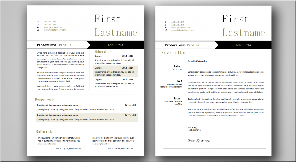 Functional CV and Cover Letter