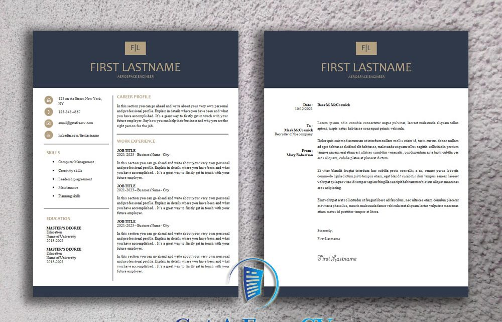 Professional CV Resume Template and Matching Cover Letter