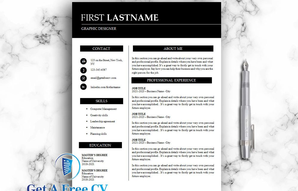Professional and creative resume CV template in Word format