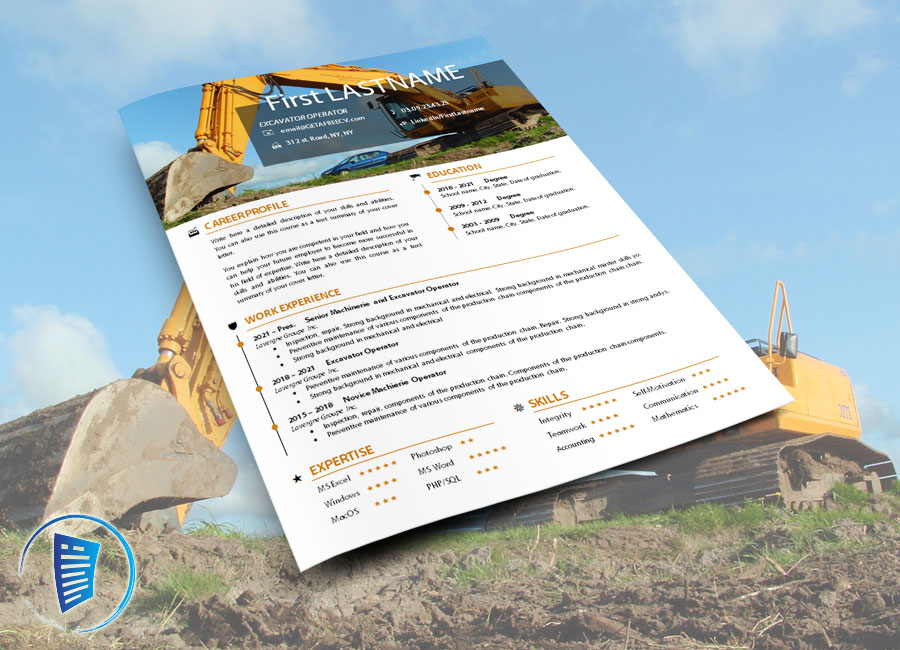 Excavator or machinerie operator cv resume template in the microsoft word format.