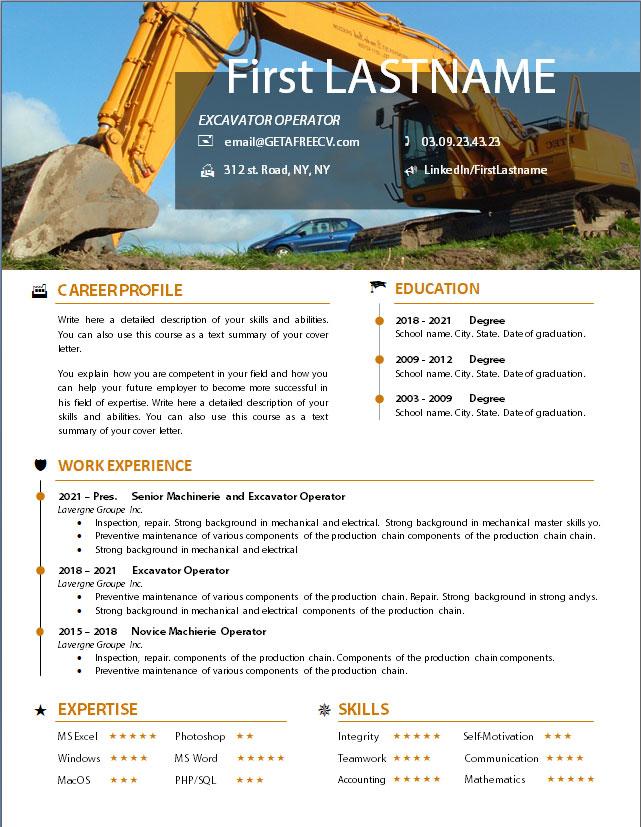 Excavator operator cv resume template